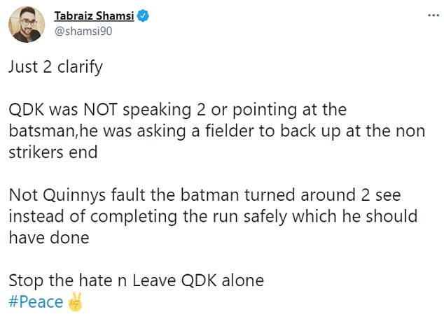 Tabraiz Shamsi has taken to Twitter to defend Quinton de Kock's actions in the second ODI