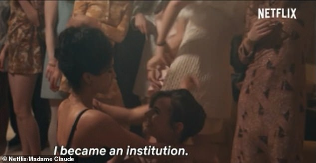 In just the first ten minutes of the film, viewers witness several racy scenes (above) - including a girl stripping off in front of the Madame during an interview, before she is seen being intimate with a man for a 'test'