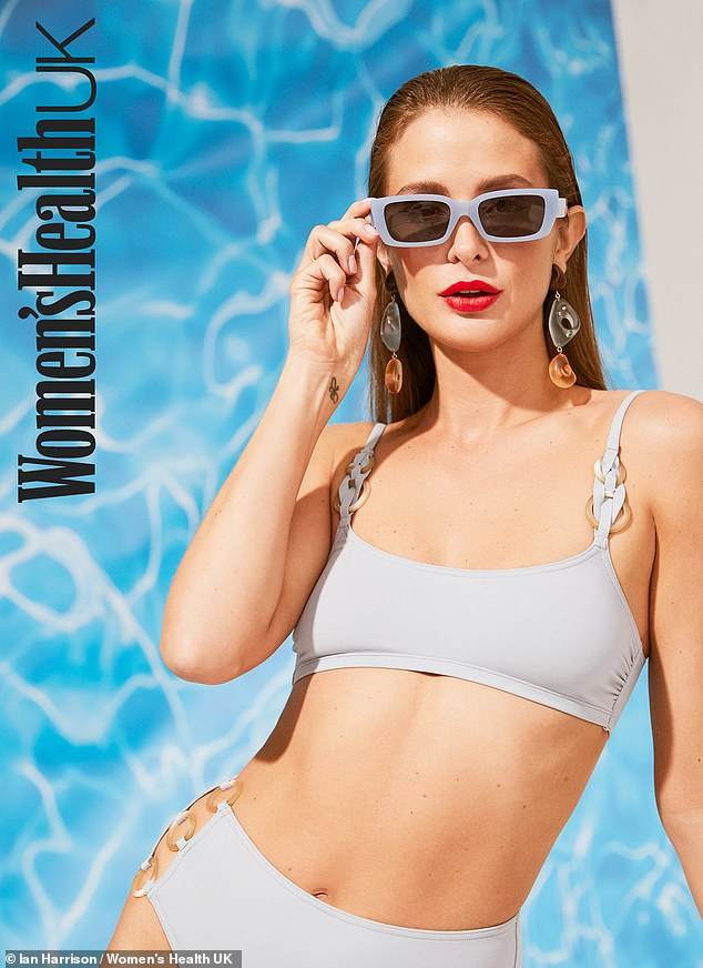 Wow: In one photo, Millie showcased her enviably taut abs and long legs in a pale blue bikini, while the reality star sported slicked back hair and a white cut out swimsuit in another look