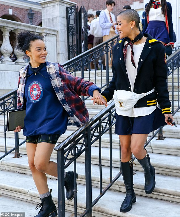 Friendship:Jordan - who plays Julien Calloway in the series - held hands with castmate Whitney Peak, who smiled back at her pal