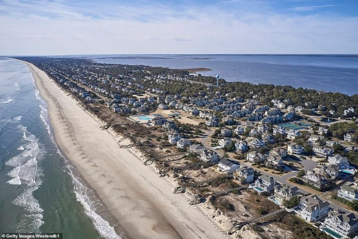North Carolina's Outer Banks, pictured, are a thin strip of barrier islands that separate mainland America from the Atlantic