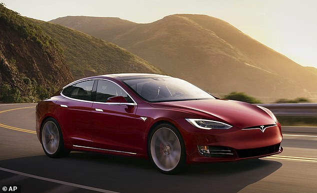 On a roll: Electric car maker Tesla rose 5 per cent as America's Nasdaq index, which is mostly made up of tech firms, jumped 1.7 per cent to 13,552