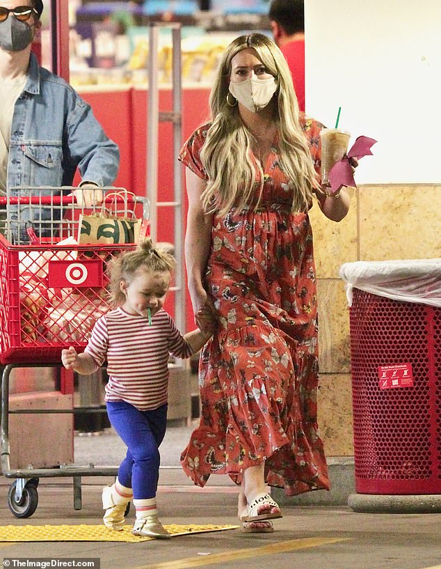 Baby love! Hilary Duff was spotted out with her newborn daughter Mae during a family grocery run in Los Angeles on Saturday