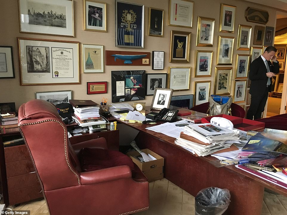 View of Donald Trump's office in Trump Tower, New York, New York, November 21, 2016. The photo was taken during a shoot, for a CNN book cover, which was Trump's first formal portrait after winning the presidential election. The same chair is believed to have followed him to the Oval Office and his new setup at Mar-a-Lago