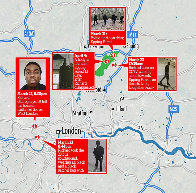 A map showing the movements of missing Richard Okorogheye, 19, last seen on CCTV, Loughton, Essex, March 23