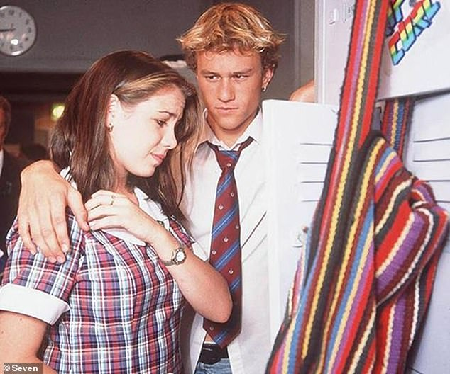 Looking back: A trailer for the program shows the 42-year-old actress choking back tears as she discusses leaving behind the character she'd played for 20 years, Sally Fletcher. Pictured here in a scene with a pre-Hollywood fame Heath Ledger