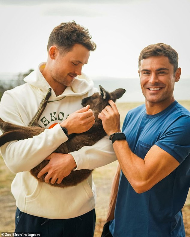 What a gig: Down to Earth follows Zac andwellness expert Darin Olien as they travel around Australia searching for healthy and sustainable ways to live. Zac is pictured with his brother Dylan, who is producing the show for Netflix