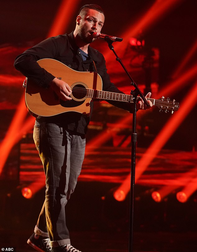 Magical voice:Chayce Beckham, 24, a heavy machinery operator from Apple Valley, California, performed Ed Sheeran's Afterglow then did a duet with Brandon on the Incubus song Drive