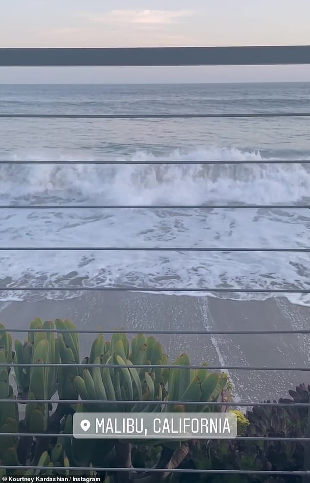 Oceanside view: The Poosh founder shot a quick video of the ocean crashing into shore just feet from her table at Nobu, which was posted on her Insta-Story later in the evening