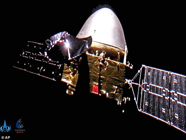 The Tianwen-1 probe (pictured) entered a parking orbit around the planet on February 24