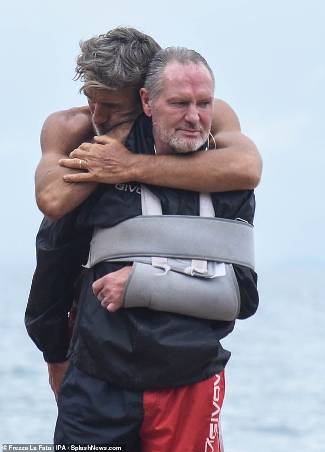 Having returned to Isola Dei Famosi for Italy's version of I'm A Celebrity following an arm injury, Paul Gascoigne appeared a little weathered on Monday. He was given a loving hug by actor Brando Giorgi