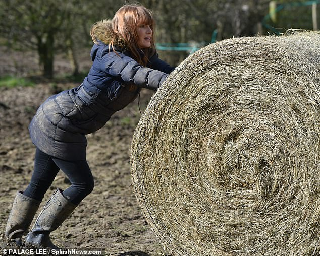 Core strength:She poked out her peachy posterior as she engaged her glutes and quads to effectively maneuver the horses' food source across the field