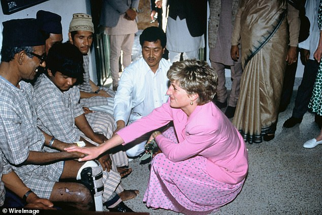 Diana, Princess of Wales, offering comfort to a hospital patient on March 4, 1993, in Kathmandu, Nepal