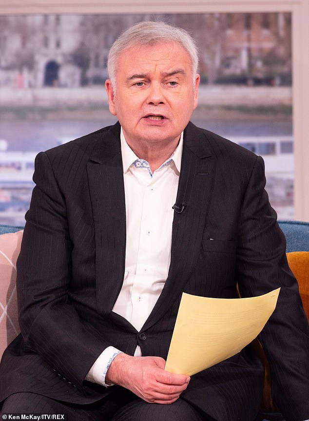 In pain: Eamonn Holmes put on a brave face as he returned to front This Morning alongside Ruth Langsford on Tuesday, after detailing his plight with chronic pain