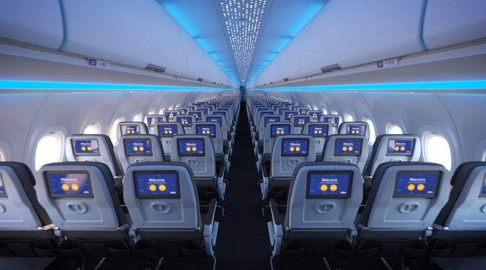JetBlue revealed that the new economy cabin will have'spacious' seats that feature 'the most legroom in coach' and are 'wider than those found on most wide-body aircraft'