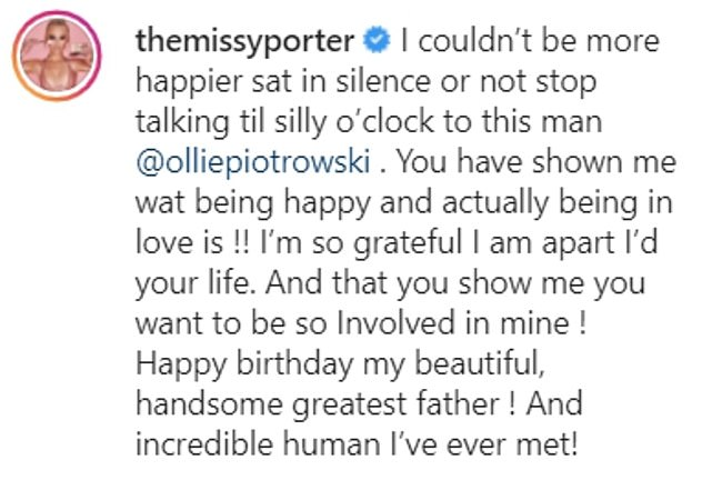 Lovely:Earlier this year she gushed over her beau in a heartfelt Instagram post to mark his 32nd birthday