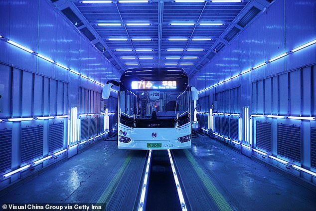Subway systems in China (picturd) and US cities like New York implemented massive UV lights systems to try to make their mass transit systems safer - but it may all have been 'hygiene theater' the CDC's guidance suggests