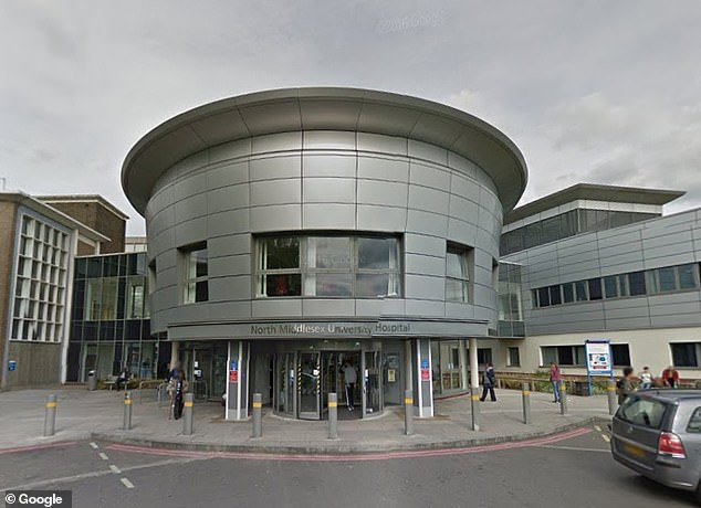 Staff at North Middlesex University Hospital (pictured) discussed providing oxygen but it could not be administered because Mr Smith was in a 'lodger bed' with no access to pipe
