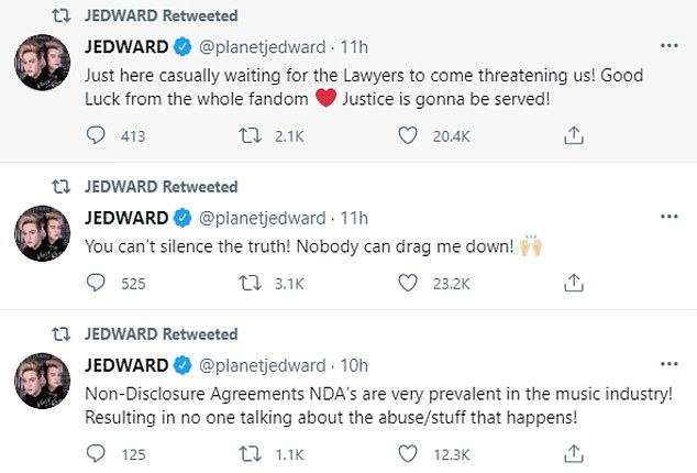 They ended their Twitter tirade with: 'Just here casually waiting for the Lawyers to come threatening us! Good Luck from the whole fandom [heart emoji] justice is gonna be served! You can't silence the truth! Nobody can drag me down!'