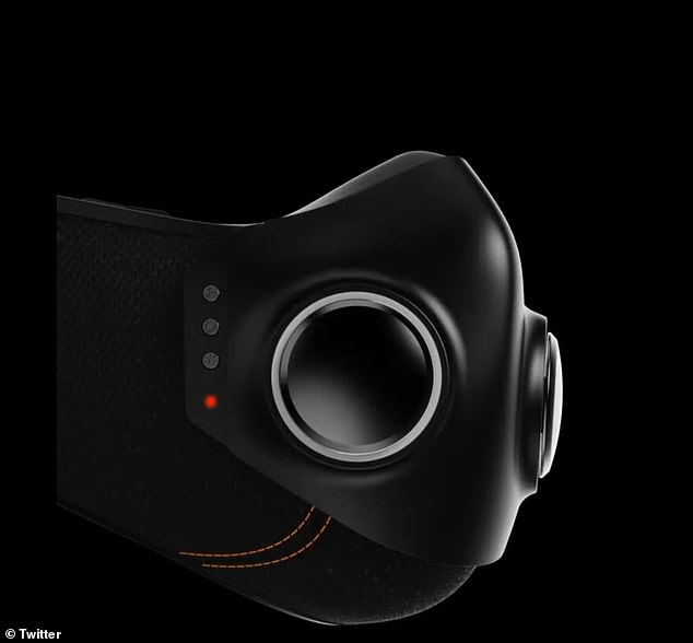 Called 'Xupermask,' the $299 device features built-in noise-cancelling headphones similar to Apple's AirPods, along with a charging port and LED lights around the front