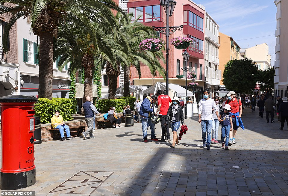 A street in Gibraltar. Locals do not have to wear masks outdoors by law, but some opt to for extra protection