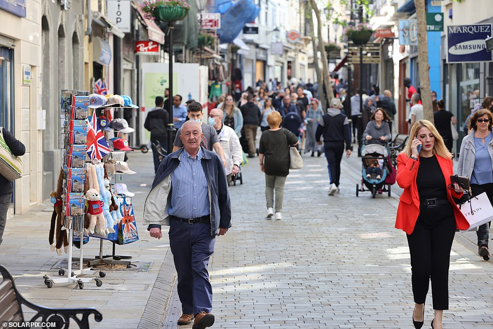 Chief Minister Fabian Picardo added: 'I am very pleased to say we are now at the two week point with no cases in Elderly Residential Services and St Bernard's Hospital.' Pictured: Gibraltar's busy streets