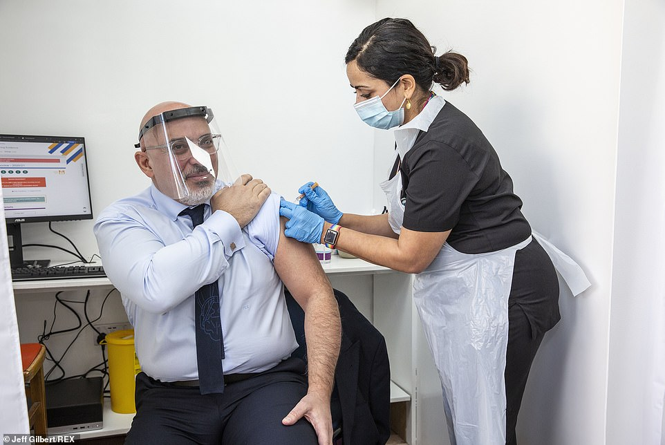 Vaccines minister Nadhim Zahawi pictured receiving his Covid jab. He said today they are expecting the first doses of the long-awaited Moderna jab to arrive this month