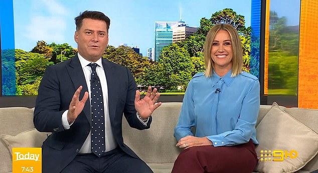 'The Today show family has grown by one': The news was also announced on the Today show, with Peter's brother Karl Stefanovic (left) sharing the news alongside co-host Leila McKinnon