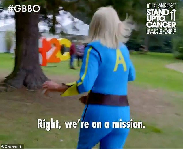 Mission: The star slipped into one of her famous jumpsuits as she hurried along to the tent while a camera man raced behind her - similar to that of the programme which saw contestants race against the clock and find directions to treasure from a series of cryptic clues