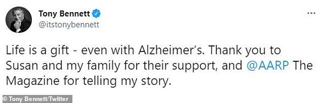 'La vida es un regalo': el 1 de febrero, Bennett anunció a sus 706.000 seguidores en las redes sociales que le habían diagnosticado la enfermedad de Alzheimer en 2016.