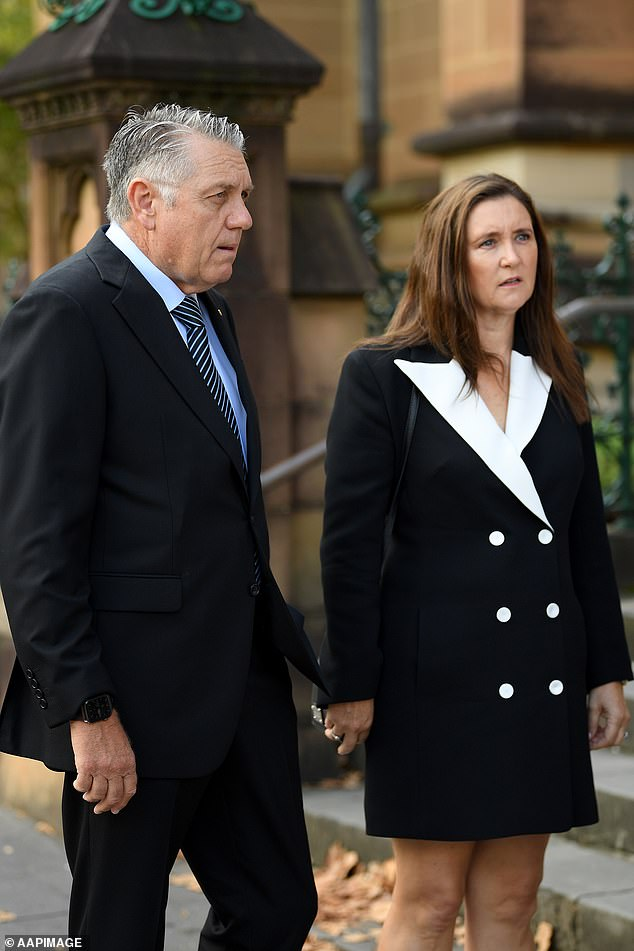 Radio broadcaster Ray Hadley and wife Sophie Baird were among the mourners at Ray Hadley's funeral