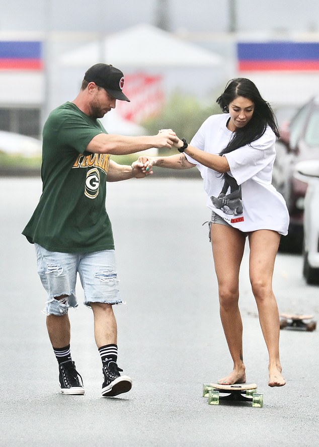 Legs for days: For their skateboard date, Tamara showed off her toned legs in a skimpy pair of grey shorts