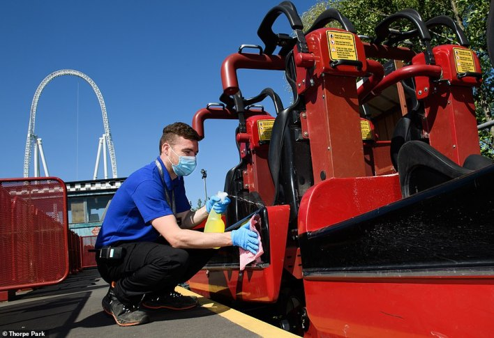 Cleaning is carried out on Stealth at Thorpe Park in Surrey before the attraction reopens next Monday