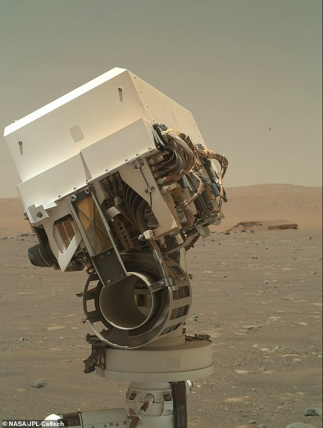 NASA's Mars Perseverance rover acquired this image using its SHERLOC WATSON camera, located on the turret at the end of the rover's robotic arm.This image was acquired on Apr. 7, 2021 (Sol 46)
