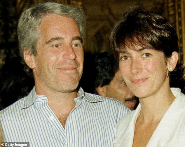 Ghislaine Maxell is pictured with Jeffrey Epstein, second left, ata party at the Mar-a-Lago club in 1995