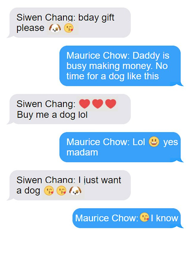 Text messages (pictured) show Ms Chang pleading with Mr Chow to buy the dog as a gift