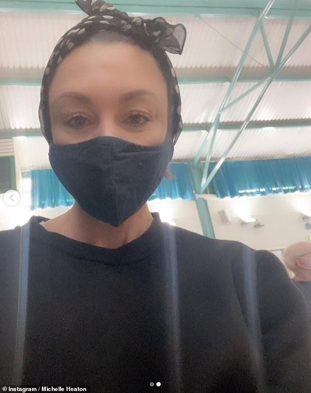 'Without my jab, I could've felt worse': The Liberty X star recently took to Instagram to thank the NHS for encouraging her to get the shot (pictured at the vaccine centre)