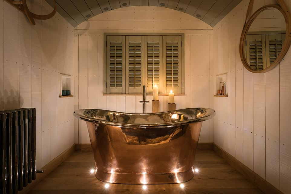 One of the highlights of the hut at Dimpsey Yonder is its romanticcopper bathtub, pictured