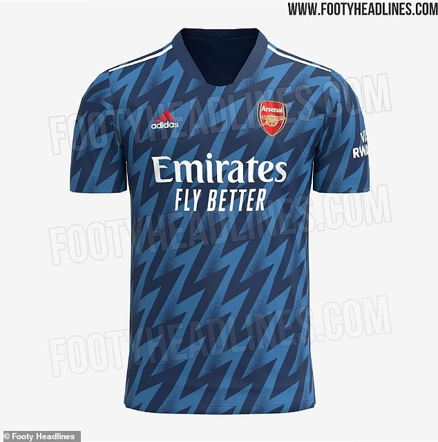 Arsenal's third kit for next season is expected to boast a '90s-inspired lightning bolt motif