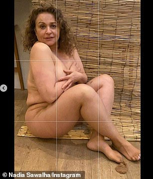 Leave nothing to the imagination: Nadia Sawalha, 56, stripped naked for an entertaining Instagram snap on Wednesday while playfully mocking a a recent picture of Kim Kardashian, 40