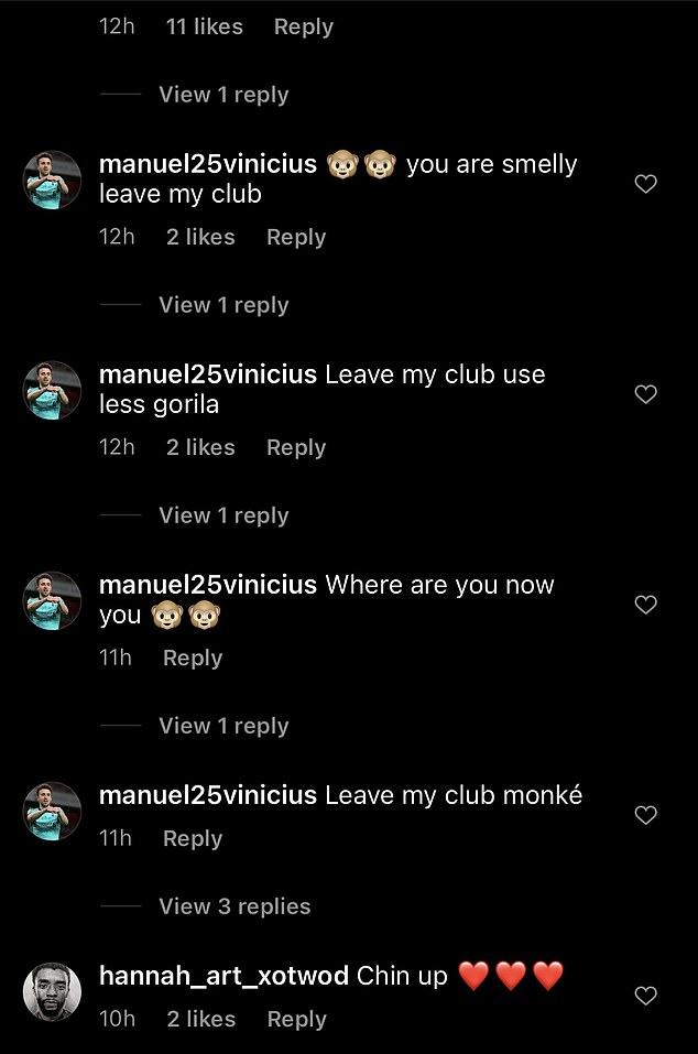 Un utilisateur, appelé `` manuel25vinicius'', a qualifié Mane de `` gorille'' et de `` singe'' sur son Instagram
