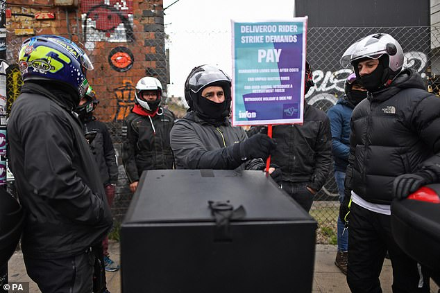 Deliveroo riders from the Independent Workers' Union of Great Britain in Shoreditch, London