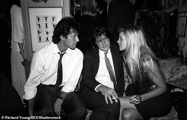Imran Khan and the Marquis of Worcester and an unknown woman at Annabel's nightclub in London
