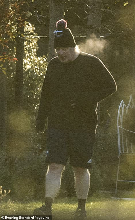 People are still being encouraged to have the AstraZeneca jab and yesterday Boris Johnson (pictured exercising today) said it was 'very very important' the public go for their inoculations