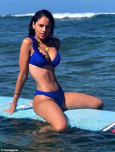 But while the Mexican actress and singer undoubtedly has an enviable physique and effortless good looks, a photograph shared to Instagram in the same trendy bikini showed a much more defined waist, pictured