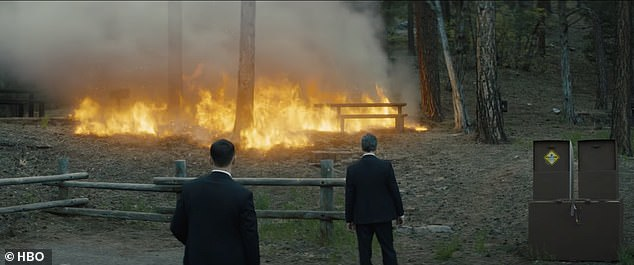 Disaster:Aidan's character Jack throws a stick of dynamite into the woods in order to 'give 'em something else to worry about' - a rapidly spreading and seemingly unstoppable fire