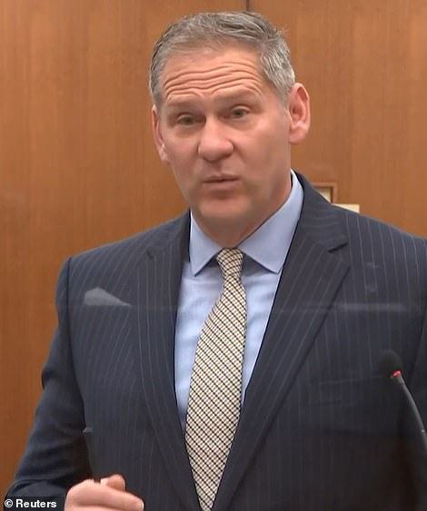 Questioned by Steve Shchleicher, pictured Wednesday, Stiger told the court that, having analyzed bodyworn camera and the city's milestone footage he saw no change of force of position in Chauvin's feet or knees for the duration. And he pinpointed moments where the officer appeared to be inflicting increased pain