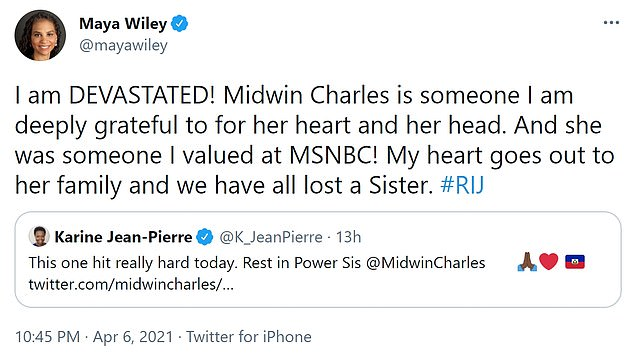 'I am DEVASTATED! Midwin Charles is someone I am deeply grateful to for her heart and her head,' shared New York City mayoral candidate Maya Wiley. 'And she was someone I valued at MSNBC! My heart goes out to her family and we have all lost a Sister. #RIJ'