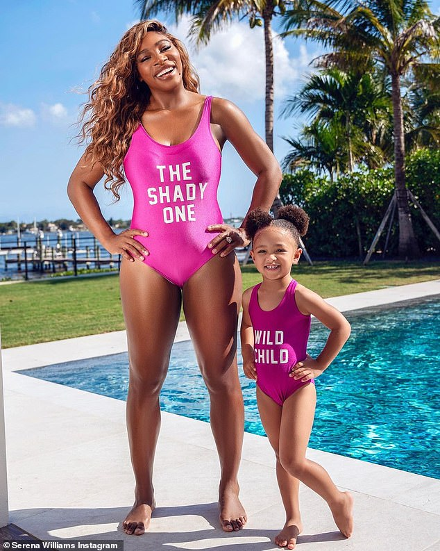 Like mommy: Serena Williams and her daughter posed in matching hot pink swimsuits for two cute Instagram portraits shared on Wednesday