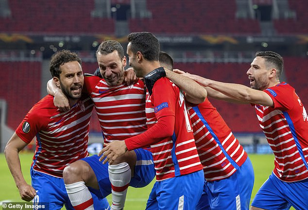 The veteran 35-year-old striker was given a helping hand by team-mates in the celebration
